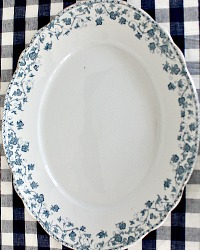 19th Century Blue & White Ironstone Huge Oval Serving Platter