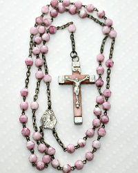 French Pink Child's Lourdes Souvenir Rosary