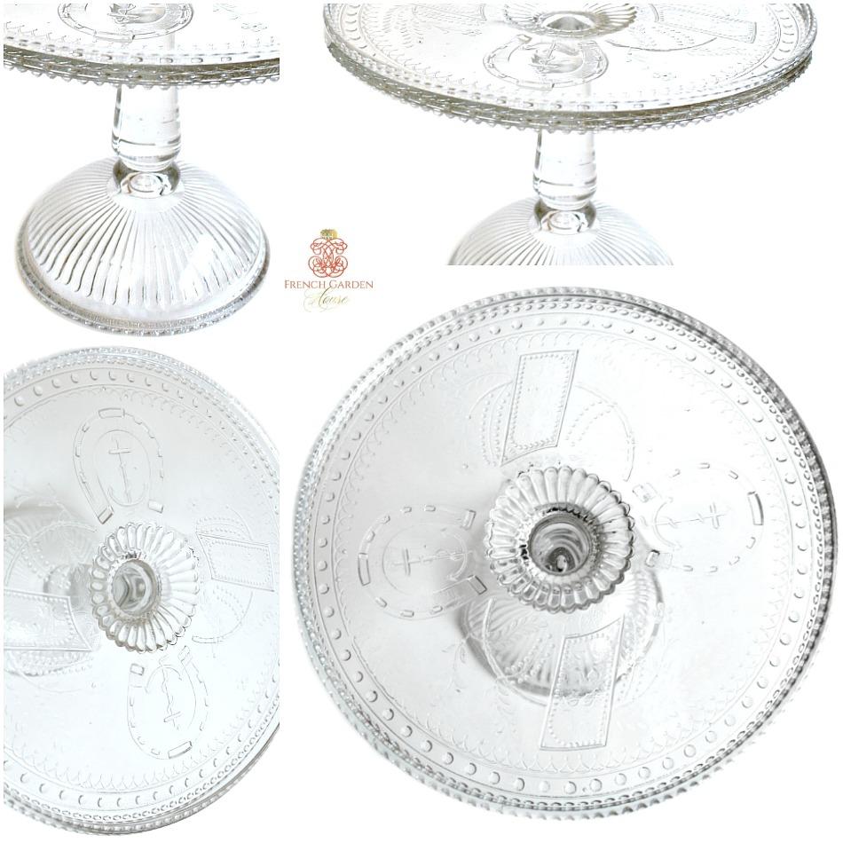 Antique 19 th Century Estate Glass Good Luck Cake Pedestal