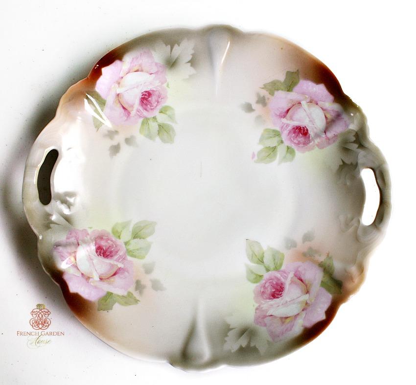 Pink Roses Lusterware Cake Platter Silesia