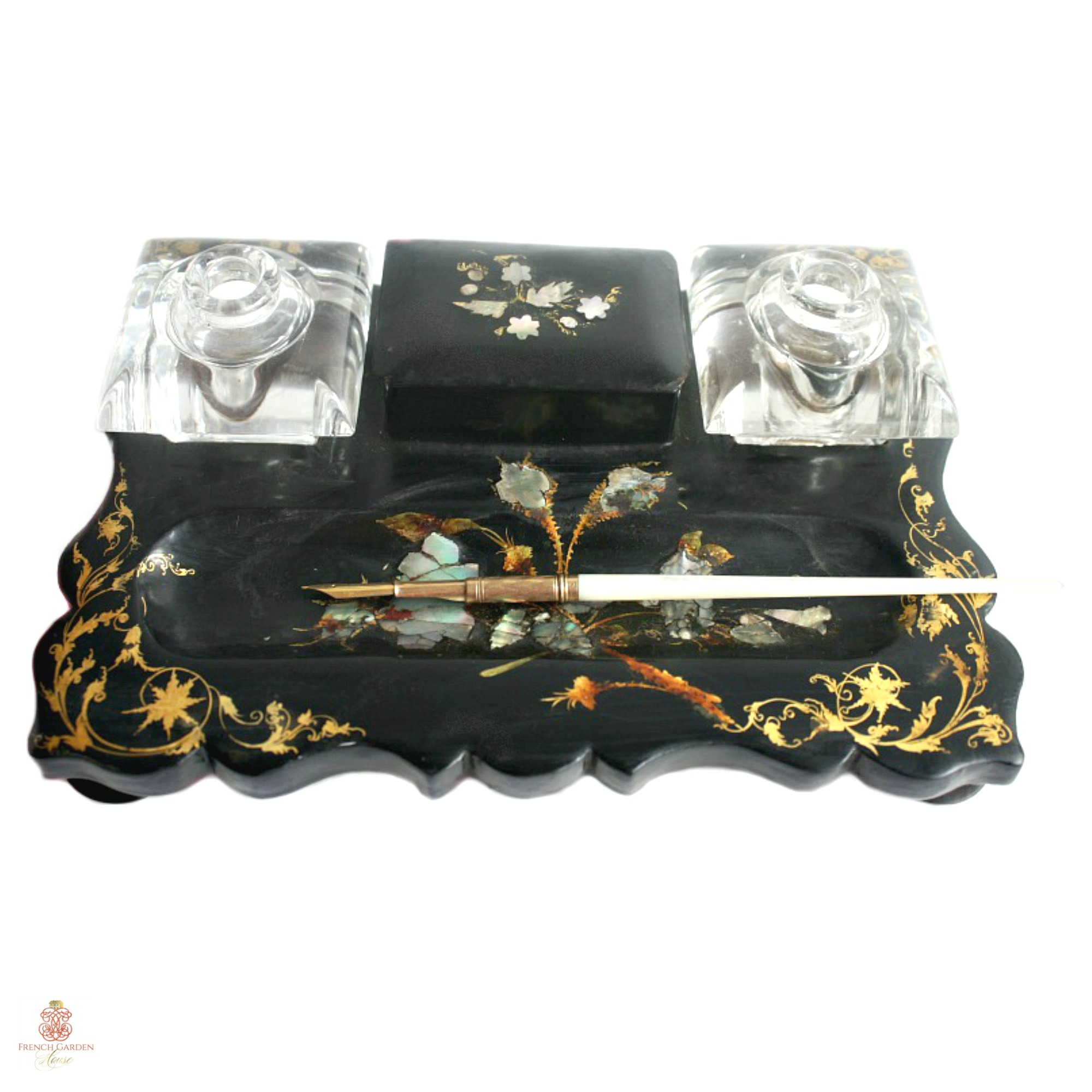 Antique Papier Mache Inkwell Stand with Mother of Pearl Inlay