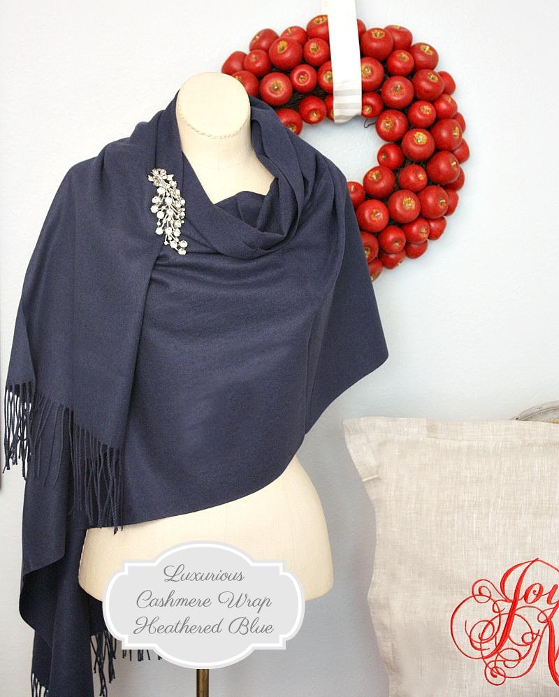 Luxurious Cashmere Wrap Heathered Blue