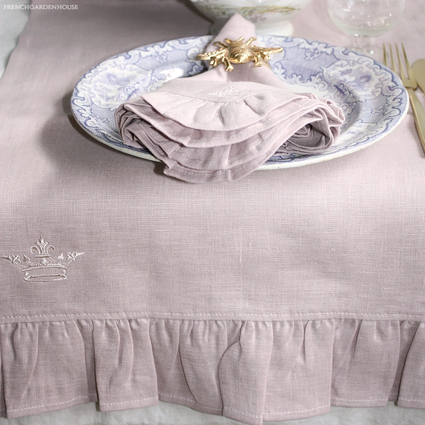 European Faded Pink Rose Linen Runner with Ruffle