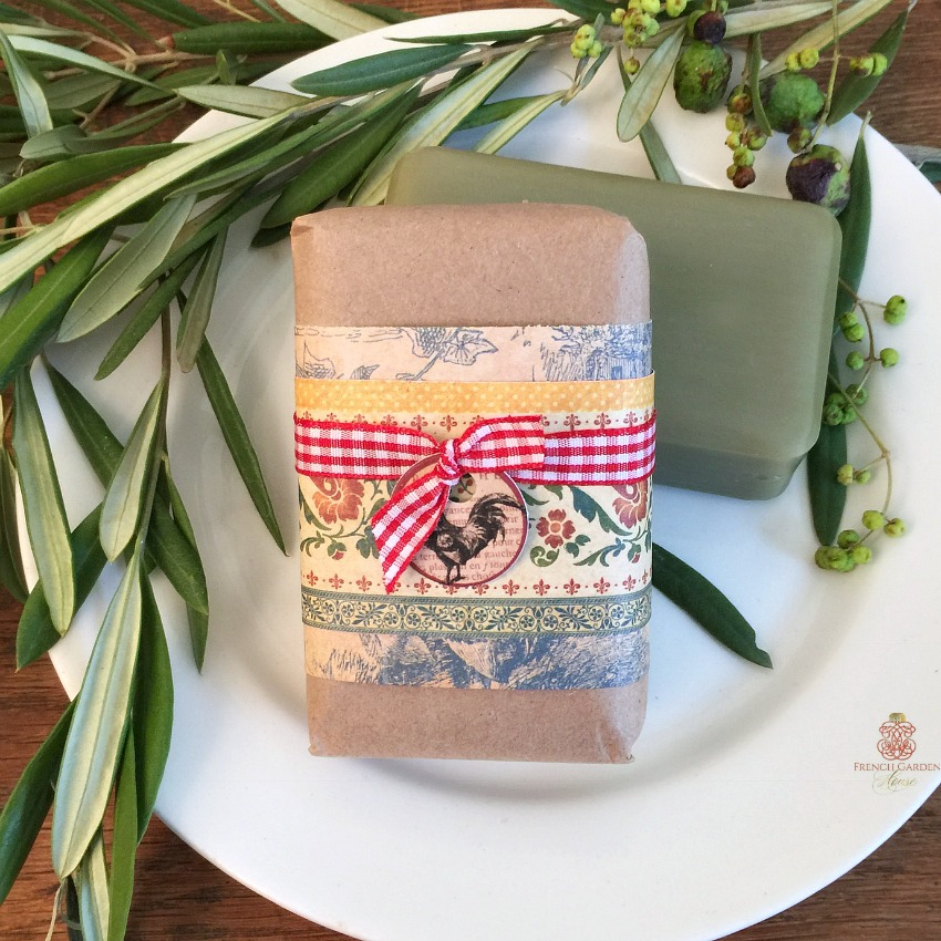 French Country Hand Wrapped Olive Lavender Soap