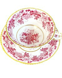 Exceptional Paragon Deep Pink Grape Garland Tea Cup and Saucer