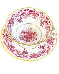 Exceptional Paragon Deep Pink Grape Garland Tea Cup and Saucer