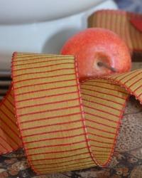 French Wired Burgundy Striped Ribbon