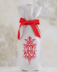 Linen Wine Gift Bag with Embroidery Royal Red