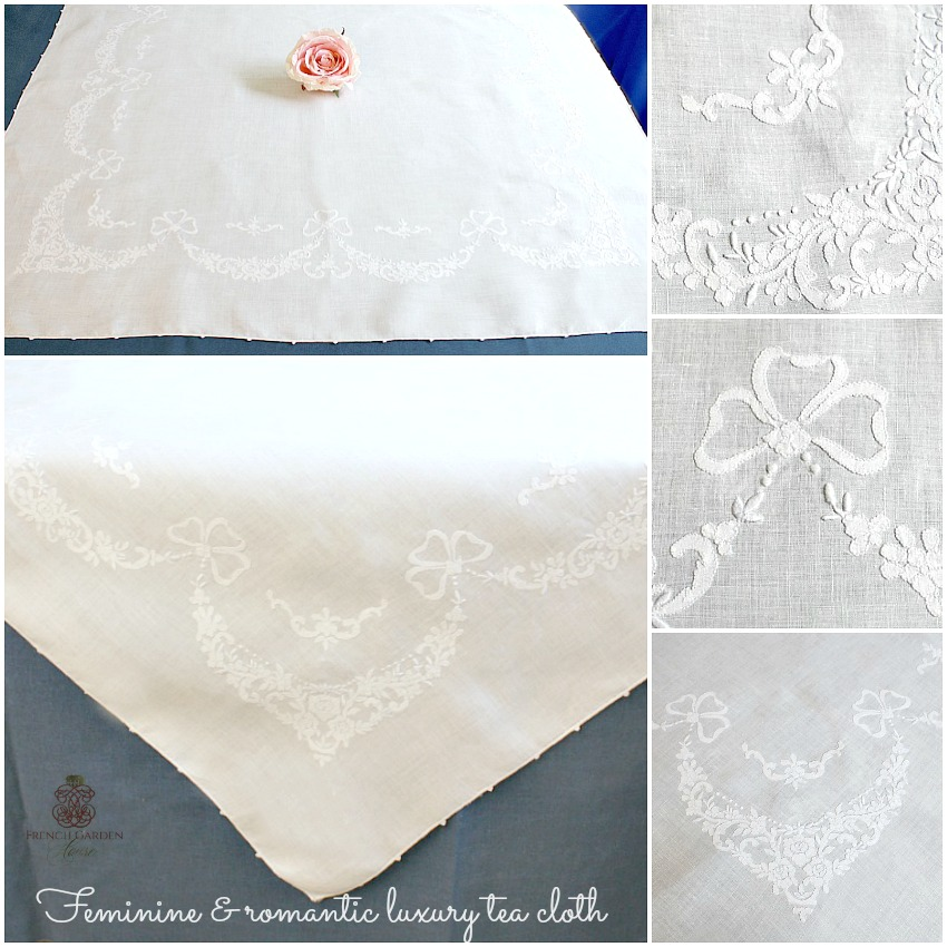 Antique Hand Embroidered White Lawn Tablecloth Rose Garlands