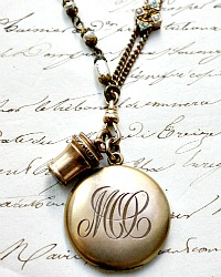 Georgia Hecht Antique Gold Slide Watch Fob Locket Necklace