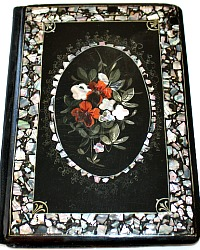 Antique Victorian Papier Mache Blotter Mother of Pearl Inlay & Gilt Painting Floral Bouquet