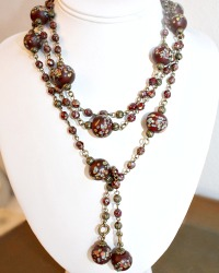 Madame Butterfly Lariat Red Necklace