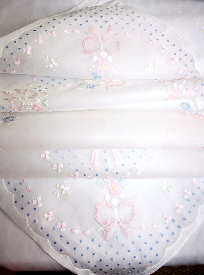 Vintage Hand Embroidered Madeira Organdy Linen Tea Cloth