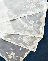 Madeira Hand Embroidered Organdy White Floral Placemat Set of 12