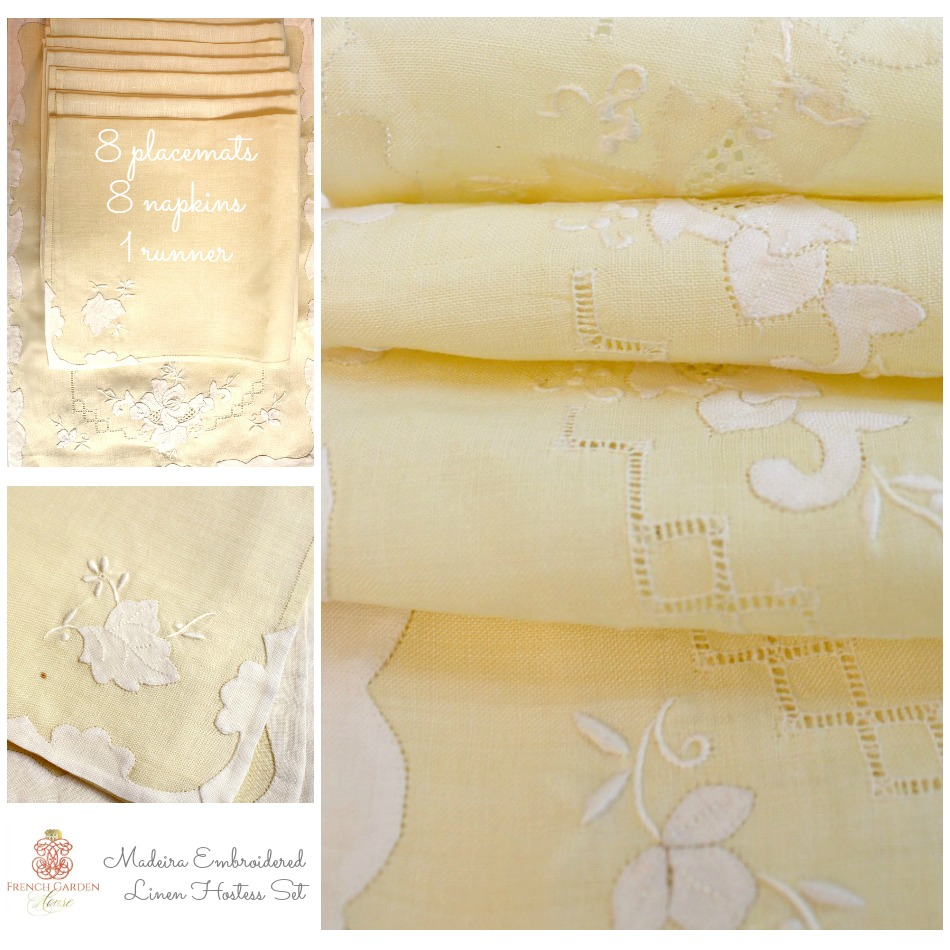 Madeira Linen Hand Embroidered Light Yellow Rose 17 Piece Set