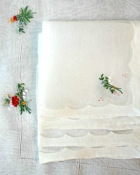 Vintage Madeira Hand Embroidered Organdy Linen Tea Cloth Napkin Set