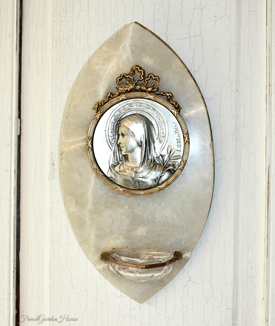 Antique French Holy Mary Benitier Marble Gilt L.O. Mattei