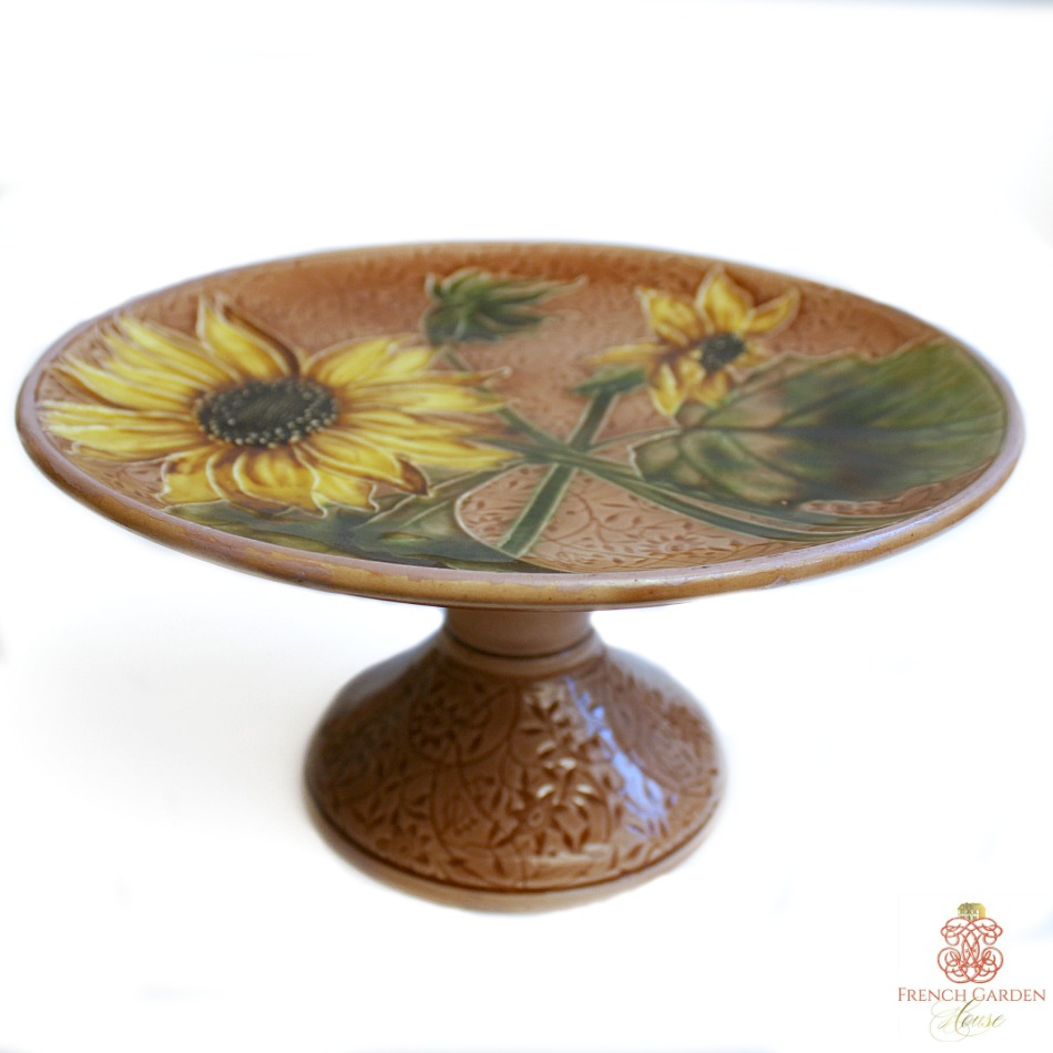 Antique Majolica Sunflower Footed Cake Pedestal Stand