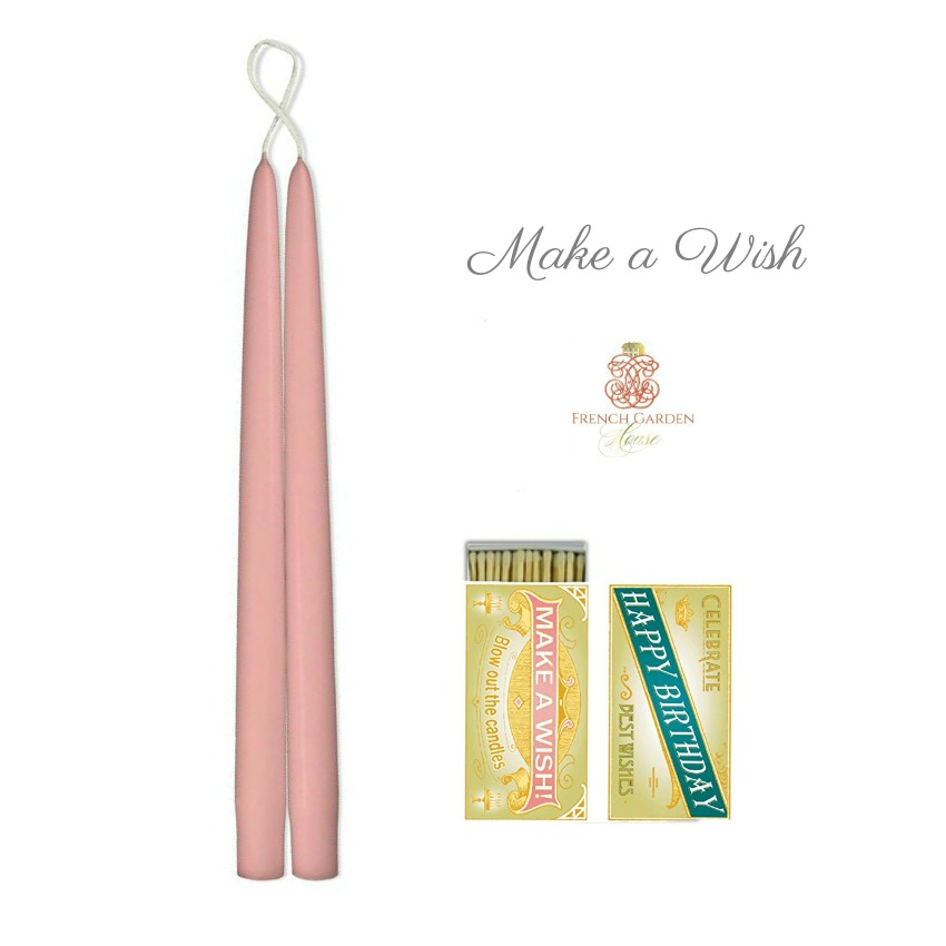 Hand Dipped Taper Candles Rose Pink Wish Gift Set