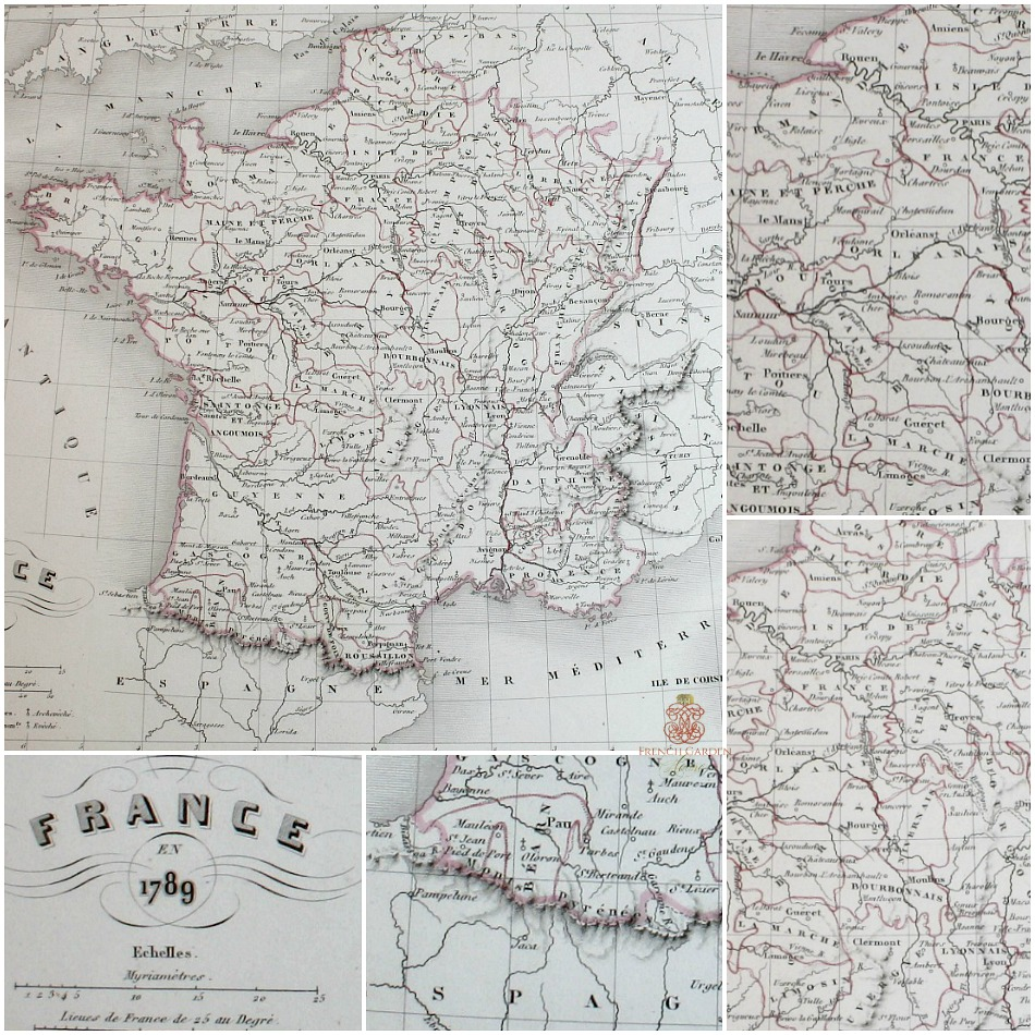 Antique Engraved Hand Colored Map of France 1789