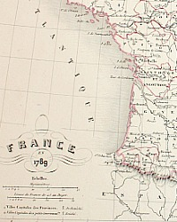 Map Of France In 1789.Antique Engraved Hand Colored Map Of France 1789