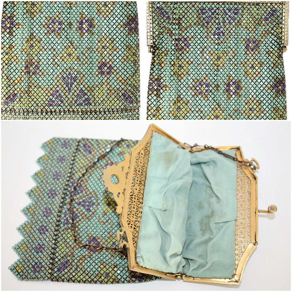 Mandalian Vintage Mesh Purse with Enameled & Jeweled Filigree Frame