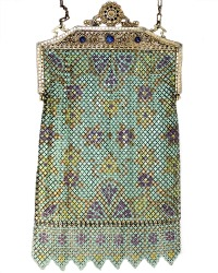 Mandalian Vintage Mesh Purse with Enameled & Jeweled Filigree Frame