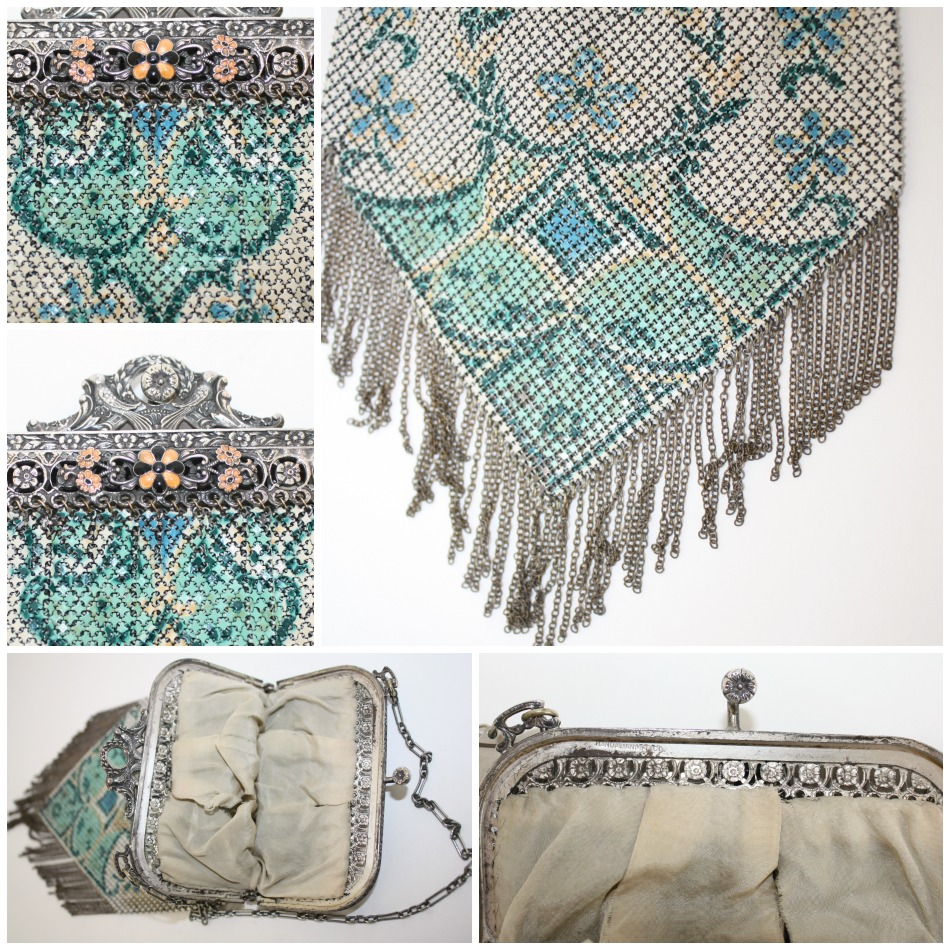 Mandalian Mesh Purse with Enameled Floral Bird Frame Fringe