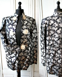 1940's Metallic Silver & Black Japanese Silk Brocade Evening Jacket and Bag
