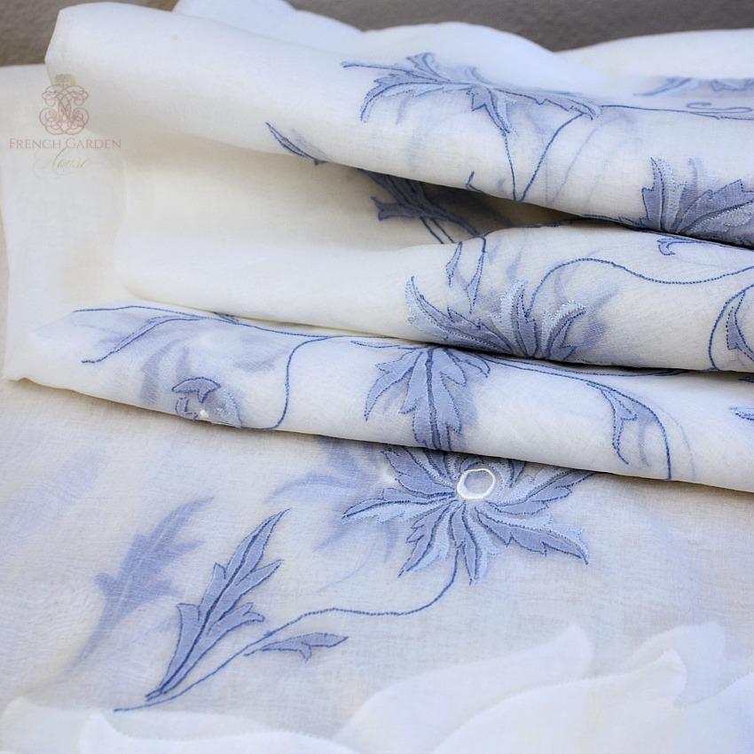 Heirloom VIntage Madeira Blue & White Tablecloth Napkins for 12