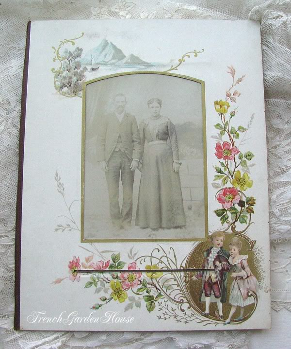 Antique Victorian Album Photograph Chromolithograph Mat B