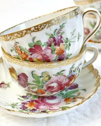 Antique Dresden Hand Painted Floral Small Teacups & Saucers Set of 5
