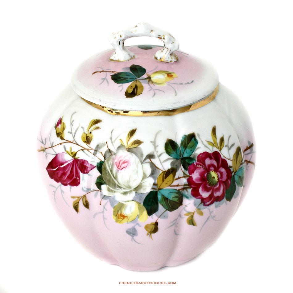 Antique Hand Painted Pink Roses Porcelain Biscuit Barrel
