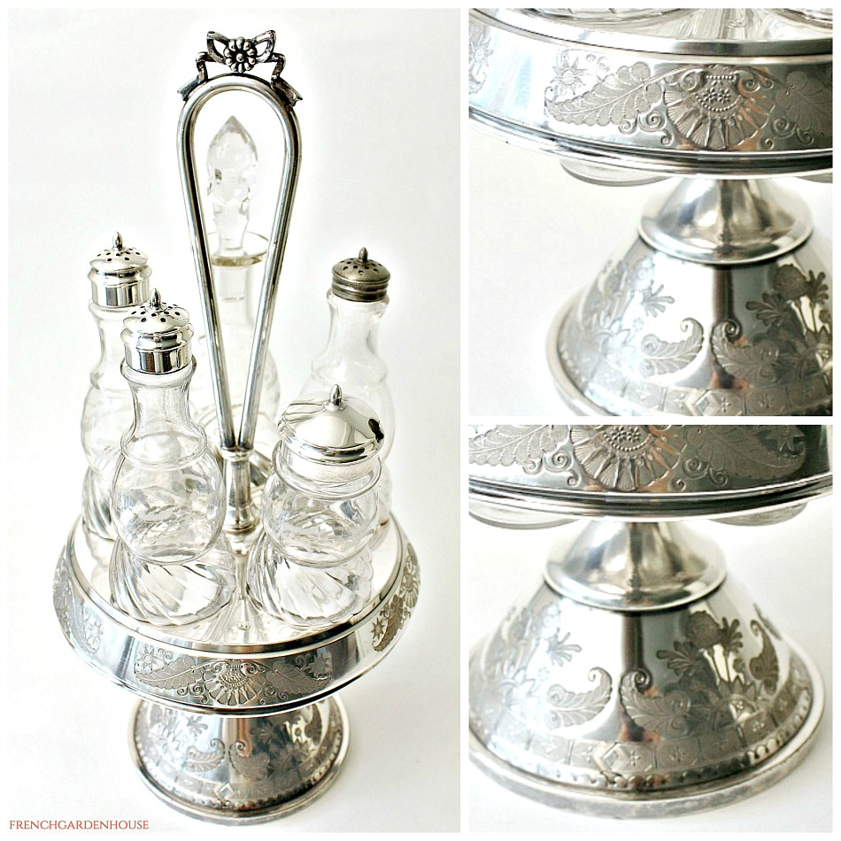 Antique Silver Plate Cruet Castor Set