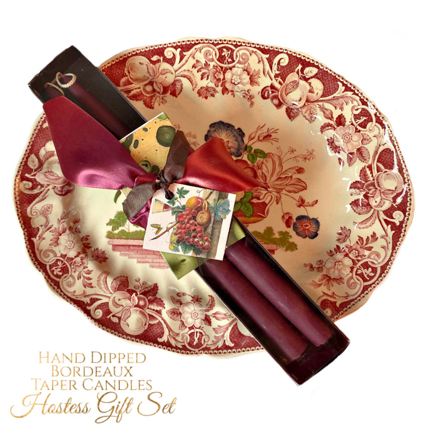Hand Dipped Bordeaux Taper Candles Hostess Gift Set