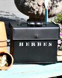 Seed Storage Box Black Metal French Herbes