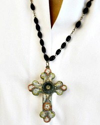 Antique Micro Mosaic Cross Necklace