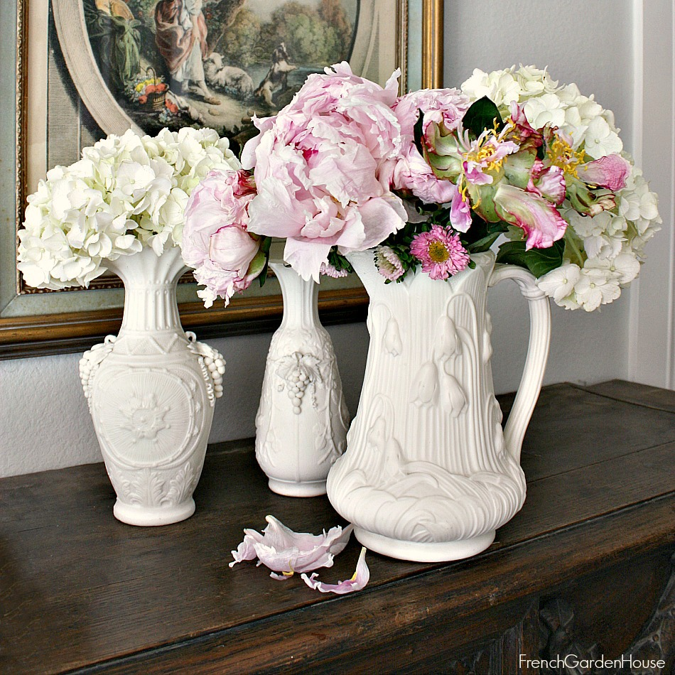 Antique Estate Parian Bisque Porcelain Vase Flowers & Bird