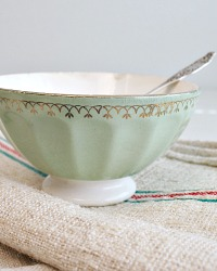 Antique French Cafe au Lait Bowl Mint Green Gilt