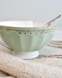 Antique French Cafe au Lait Bowl Mint Green Gilt