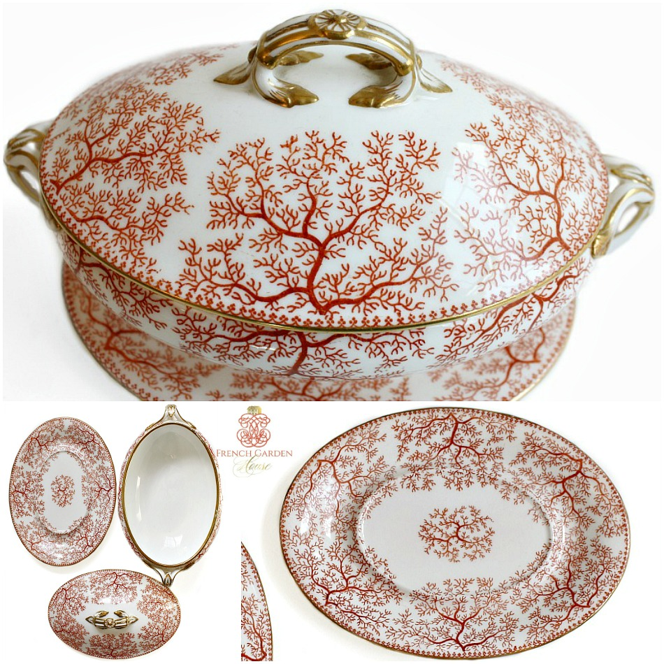 Antique Minton Coral and White Seaweed Motif Sauce Tureen