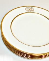 1891 Antique Minton Gold Ornate Monogrammed Dinner Plate Set of 6