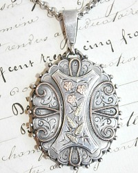 Victorian Sterling Aesthetic Movement Mixed Metal Locket