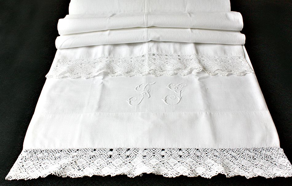 Victorian Bolster Pillows : 19th Century Trousseau Monogrammed Bolster Lace Pillow Case