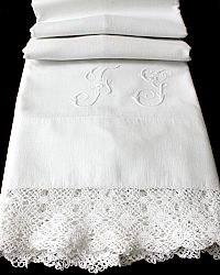 19th Century French Trousseau Monogrammed Bolster Lace Pillow Case