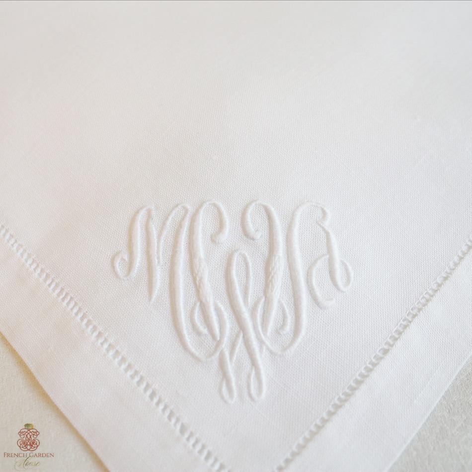 Antique White Linen Napkins Monogram MWA Set 6