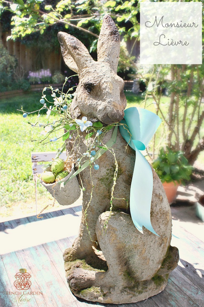 French Country Monsieur Lievre Large Standing Hare Bleu