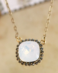 Gold & Moonstone Opal Border Cut Crystal Necklace