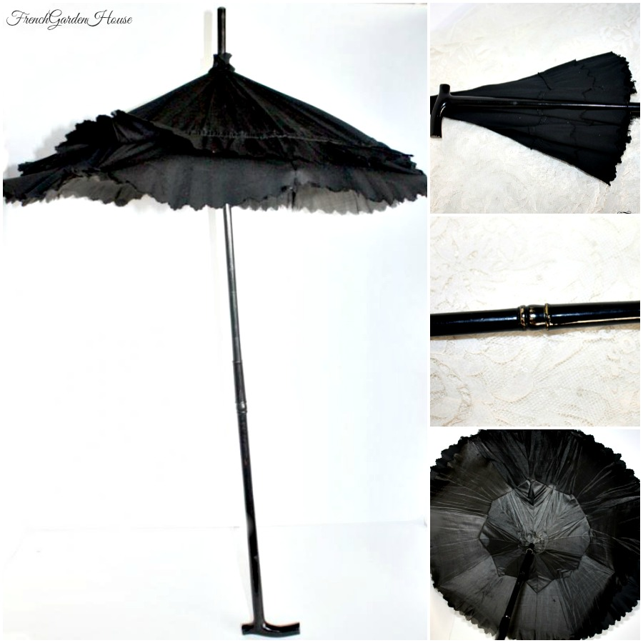 Antique Black Victorian Child's Mourning Folding Ebony Child's or Doll Parasol