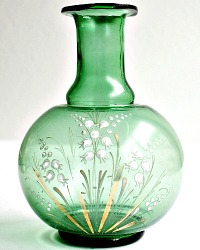 Antique Hand Enameled Green Vase with Muguet de Bois Flowers